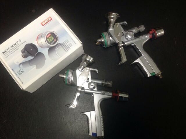(2) Sata 5000b Hvlp Spray Guns (1.3, 1.4) (2) Adam 2