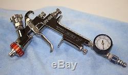 Anest Iwata LPH-400-LVX HVLP Paint Spray Gun with Sharpe Pressure Gauge EXCELLENT
