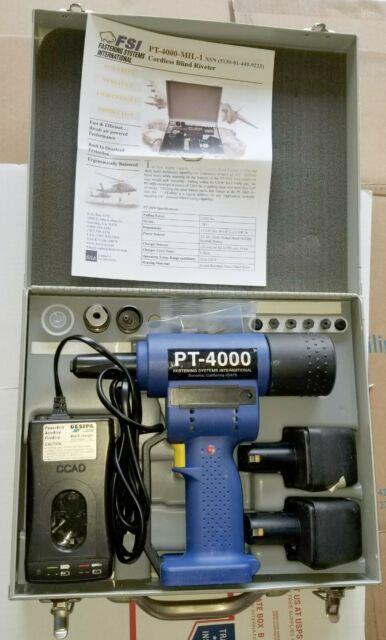 Fsi Pt-4000-mil-1 Cordless Electric Rivet Gun Riveter Fastener Kit Cherrymax
