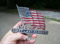 Original 1950s rare Accessory vintage License plate topper US FLAG GM Ford Chevy