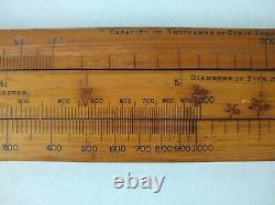 RARE Antique Wood & Brass Ruler, Slide Rule, Air, Gas Pressure Measure, 40 in