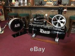 Vintage 1920's USACO US Air Compressor Co. Flat-Belt Compressor Watch Video